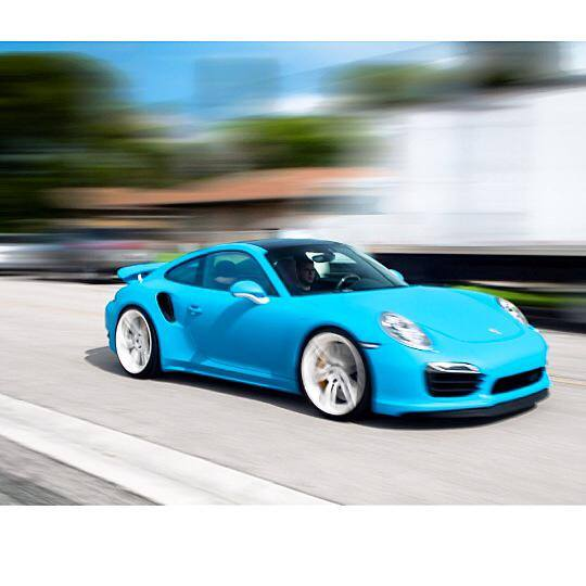 porsche turbo wrapped in riviera matte blue